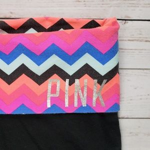 VS PINK Black Pink Multi Fold Over Yoga Shorts SM